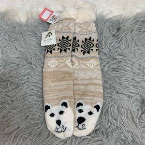 Muk Luks Fuzzy Bear Socks